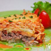 Мясная запеканка с овощами и макаронами