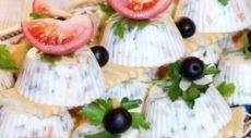 Заливной салат «Оливье» с горбушей